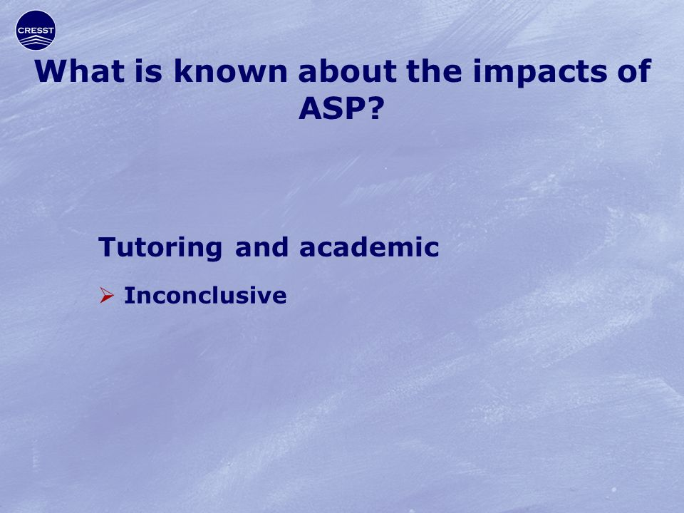 What is known about the impacts of ASP Tutoring and academic  Inconclusive