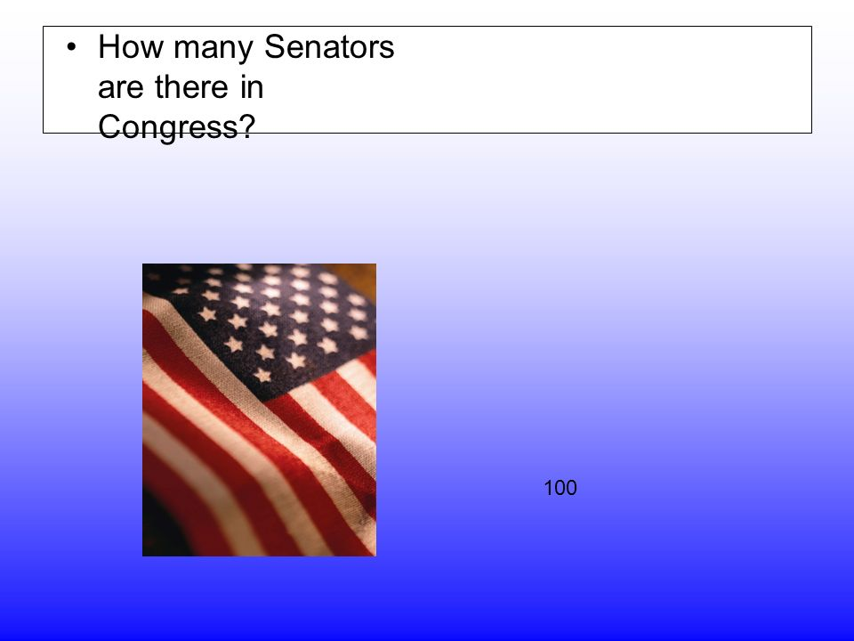 How many Senators are there in Congress 100
