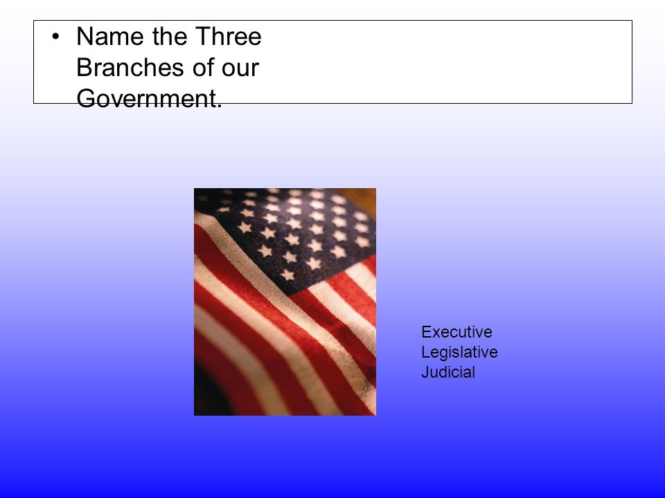 Name the Three Branches of our Government. Executive Legislative Judicial
