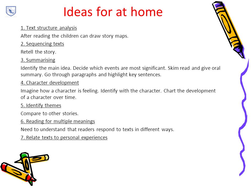 Ideas for at home 1. Text structure analysis After reading the children can draw story maps.