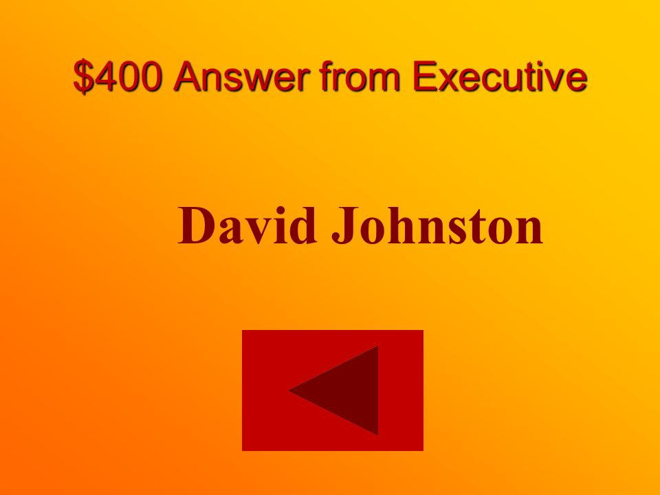 $400 question from Executive The federal representative to the Crown is whom (Name)