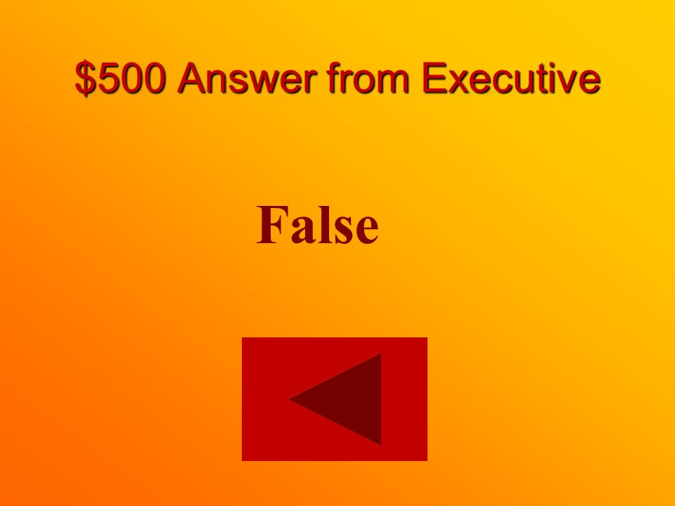 $500 question from Executive True or False: Mayors are members of the provincial executive.
