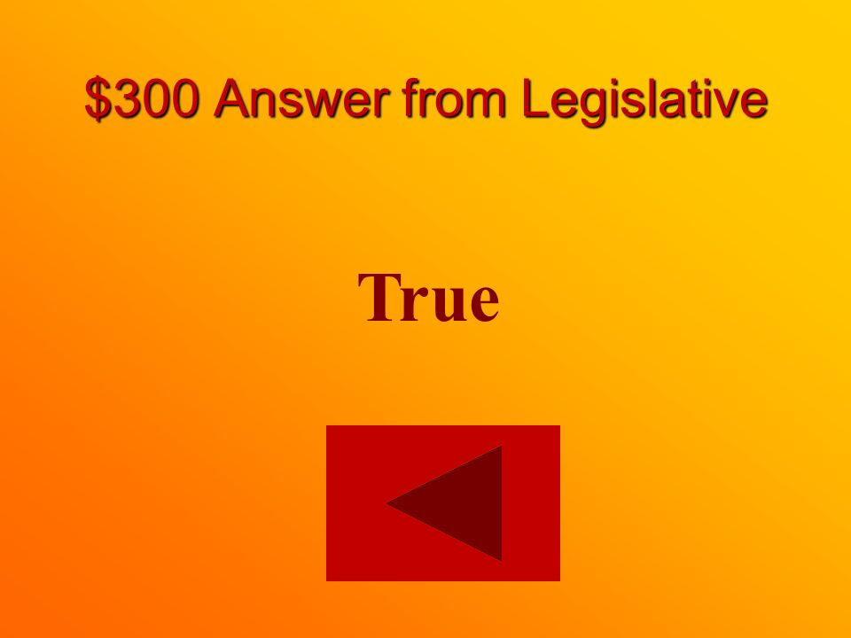 $300 question from Legislative True or False: The legislative branch of the government makes laws.