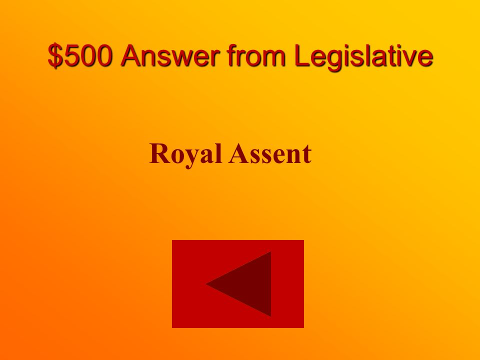 $500 question from Legislative What is the final stage of a bill becoming a law