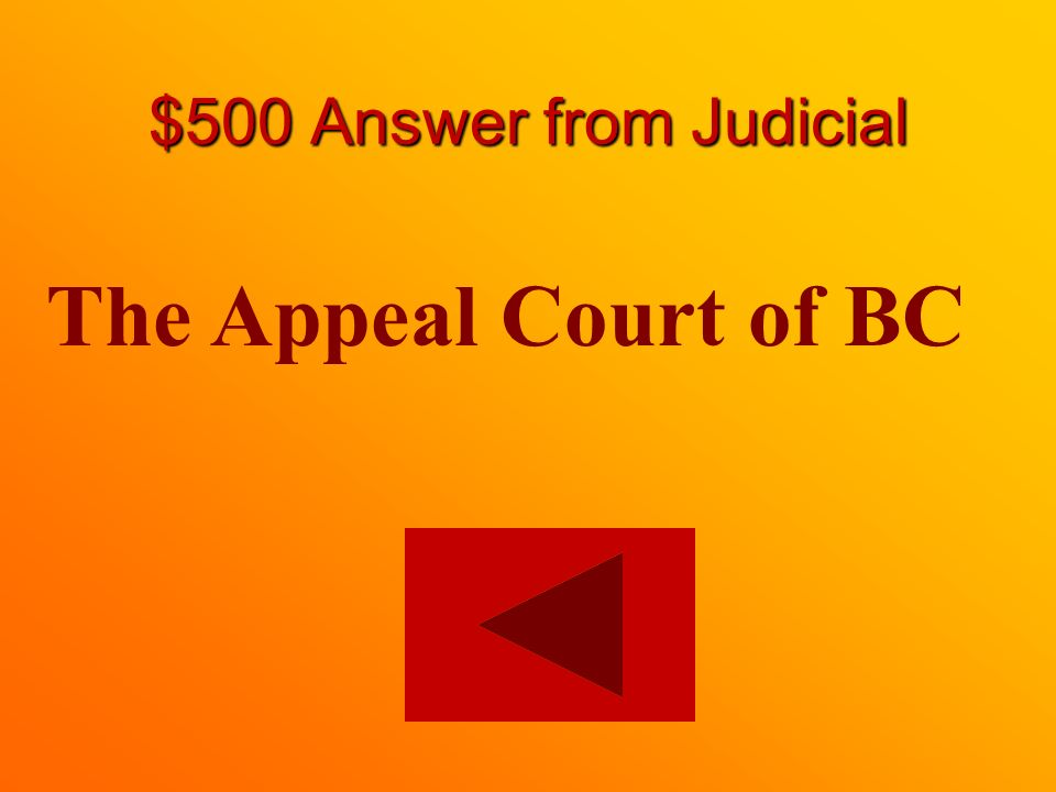 $500 question from Judicial What is the highest court in BC