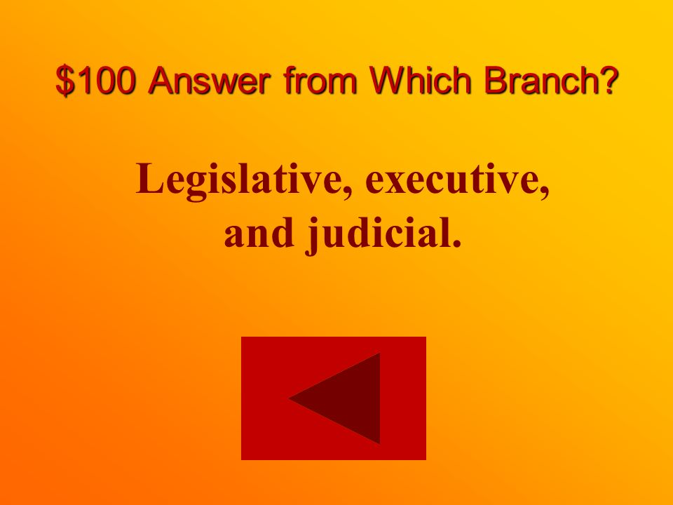 $100 question from Which Branch What are the three branches of government