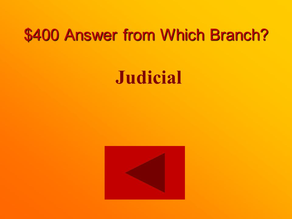 $400 question from Which Branch On which branch is a Supreme Court Justice