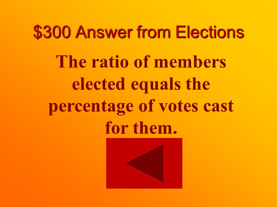 $300 question from Elections What is proportional representation