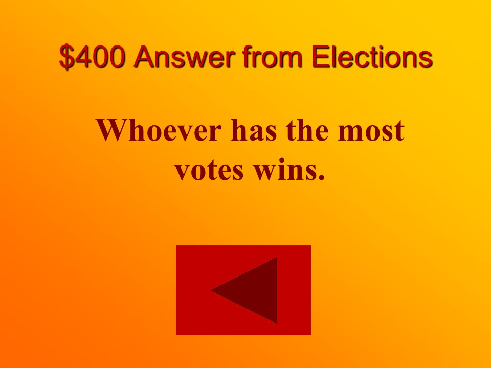 $400 question from Elections How do you win in a first-past-the-post system