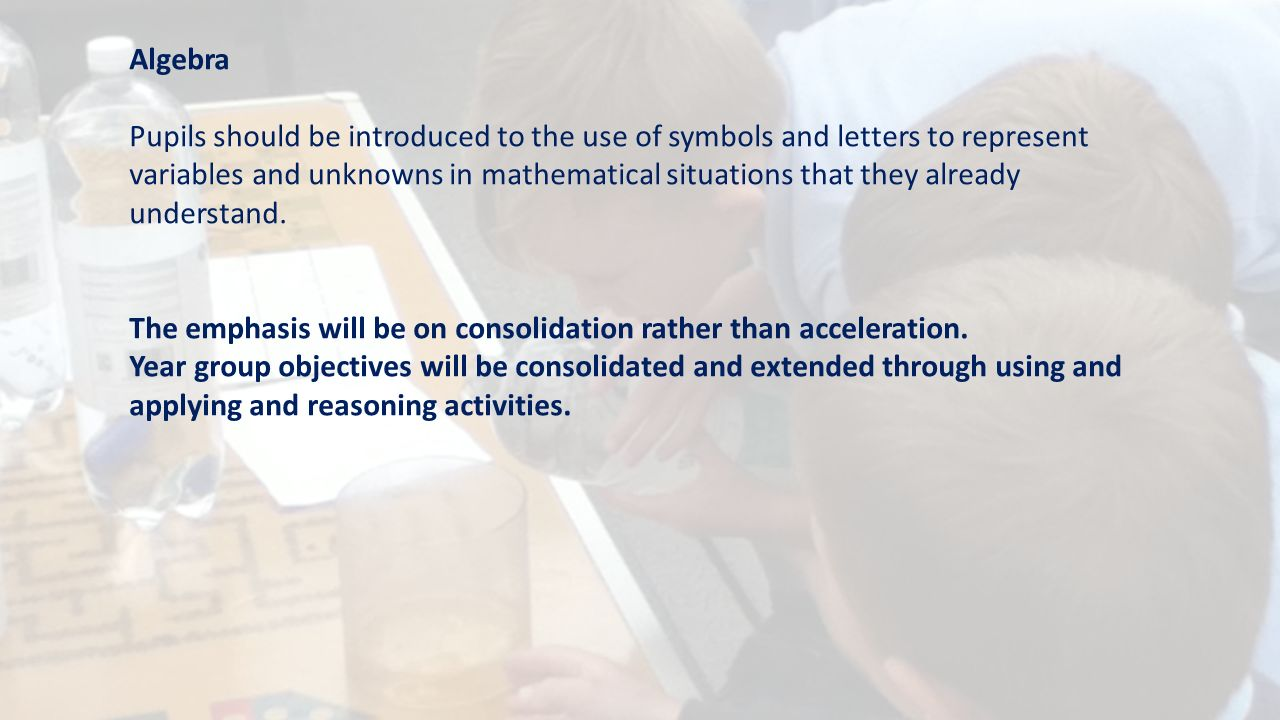 Algebra Pupils should be introduced to the use of symbols and letters to represent variables and unknowns in mathematical situations that they already understand.
