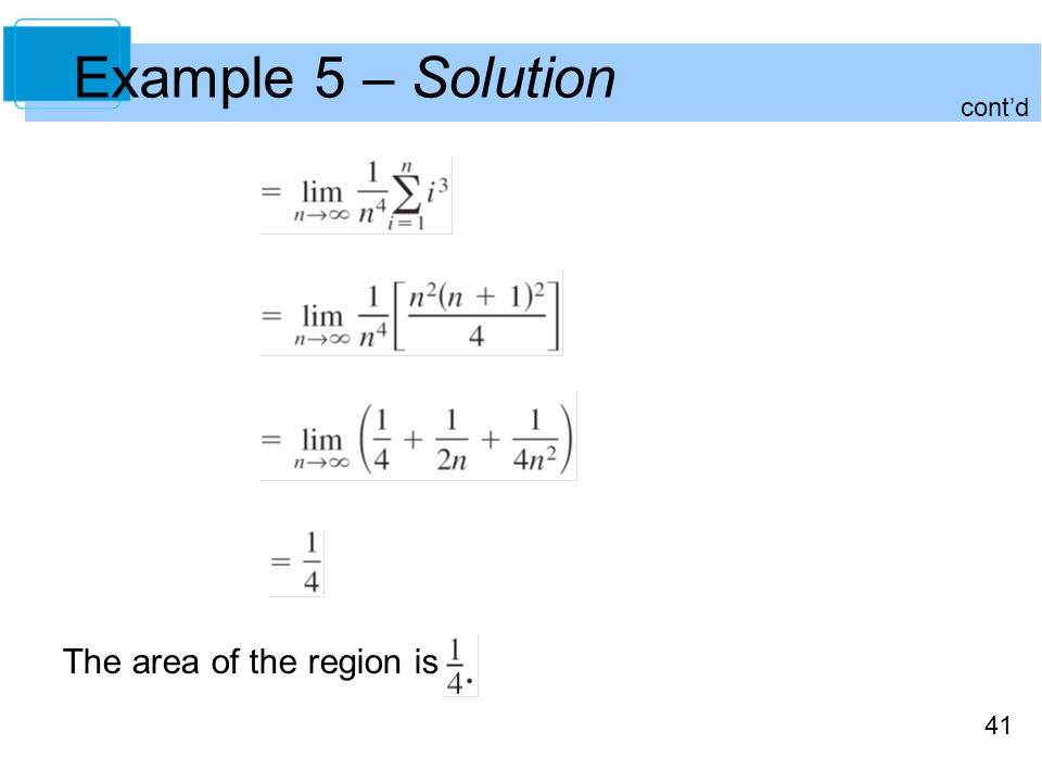 41 Example 5 – Solution cont'd The area of the region is