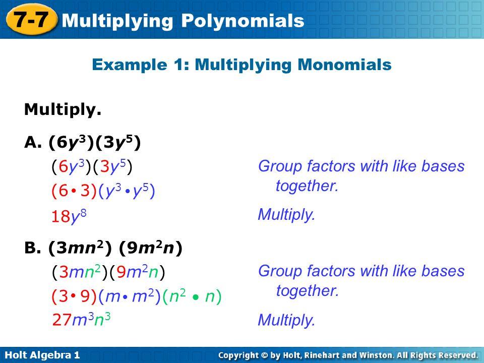 Holt Algebra Multiplying Polynomials 77 Multiplying Polynomials – Multiplying a Polynomial by a Monomial Worksheet