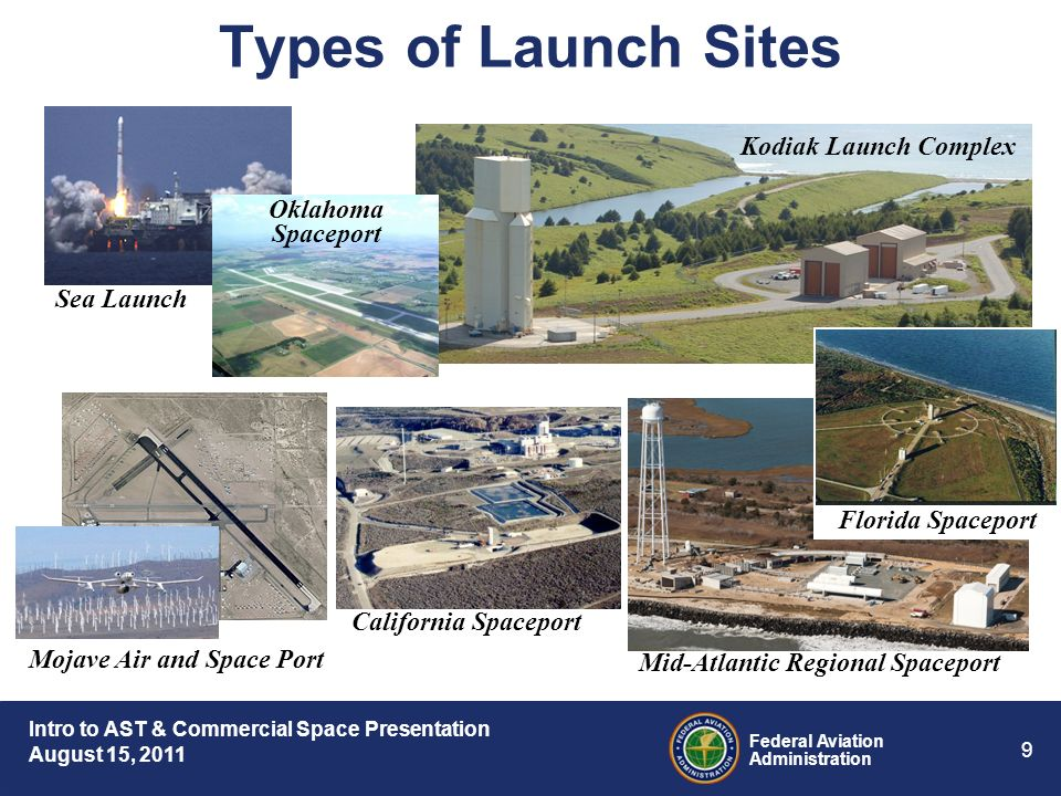 Intro to AST & Commercial Space Presentation August 15, 2011 Federal Aviation Administration 9 Kodiak Launch Complex Types of Launch Sites ELV Sea Launch California Spaceport Mid-Atlantic Regional Spaceport Mojave Air and Space Port Florida Spaceport Oklahoma Spaceport