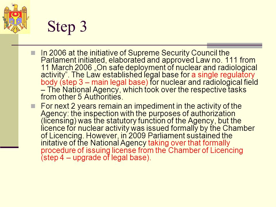 In 2006 at the initiative of Supreme Security Council the Parlament initiated, elaborated and approved Law no.