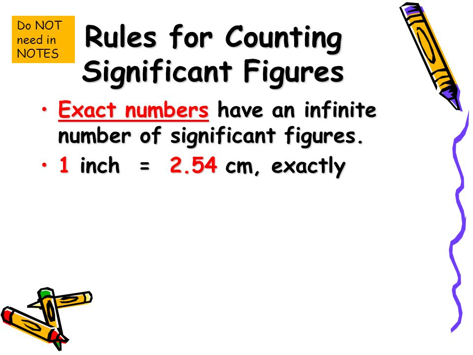 Rules for Counting Significant Figures Exact numbers have an infinite number of significant figures.Exact numbers have an infinite number of significant figures.