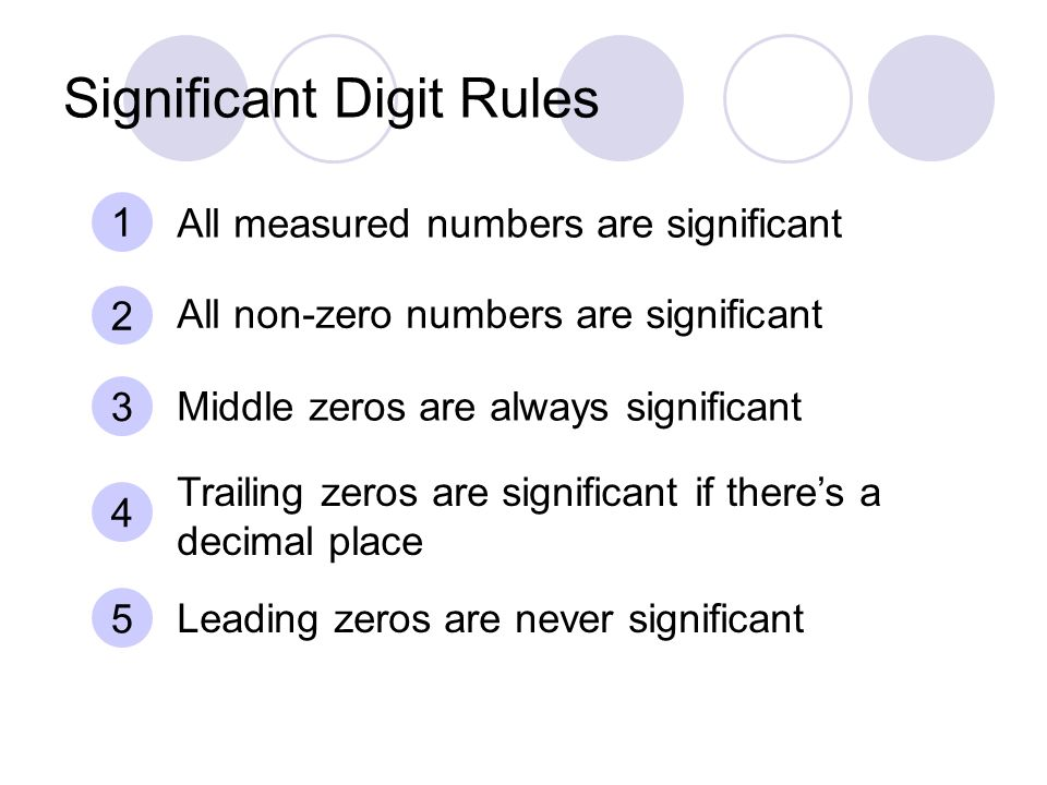 Significant Digit Rules 1 All measured numbers are significant 2 All non-zero numbers are significant 3 Middle zeros are always significant 4 Trailing zeros are significant if there's a decimal place 5 Leading zeros are never significant