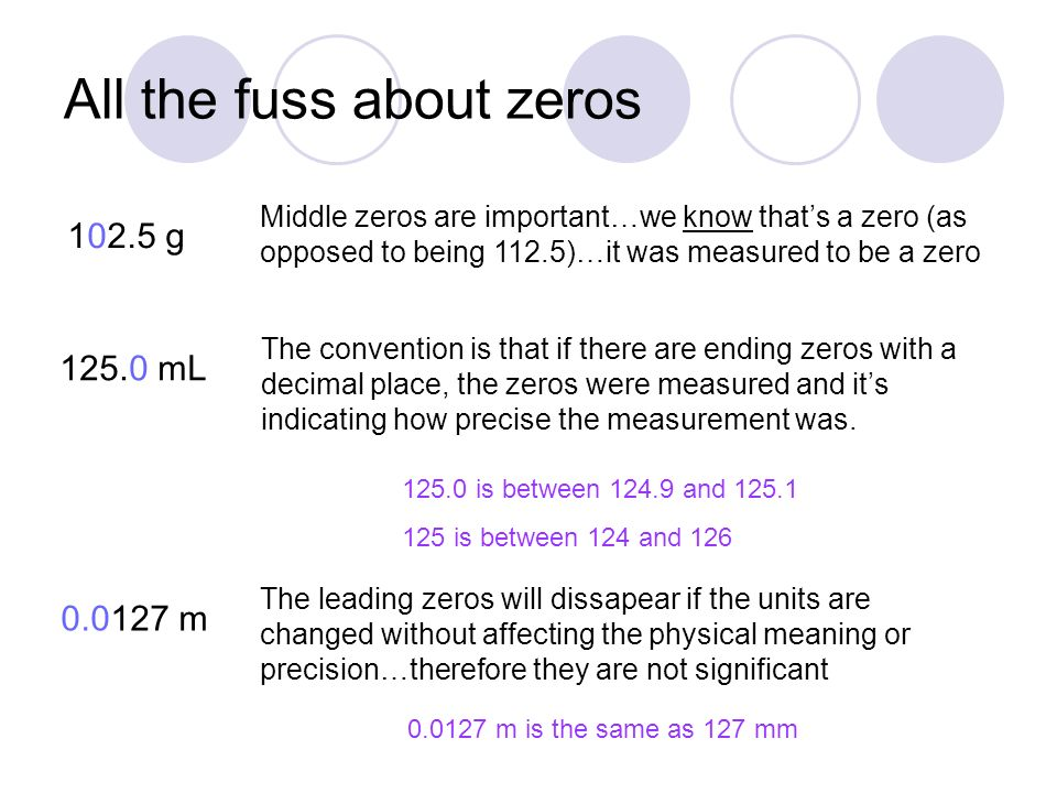 All the fuss about zeros g Middle zeros are important…we know that's a zero (as opposed to being 112.5)…it was measured to be a zero mL The convention is that if there are ending zeros with a decimal place, the zeros were measured and it's indicating how precise the measurement was.