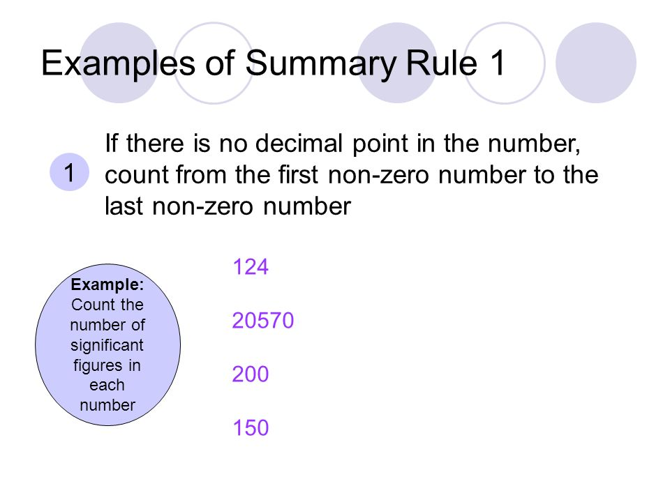 Examples of Summary Rule 1 Example: Count the number of significant figures in each number If there is no decimal point in the number, count from the first non-zero number to the last non-zero number