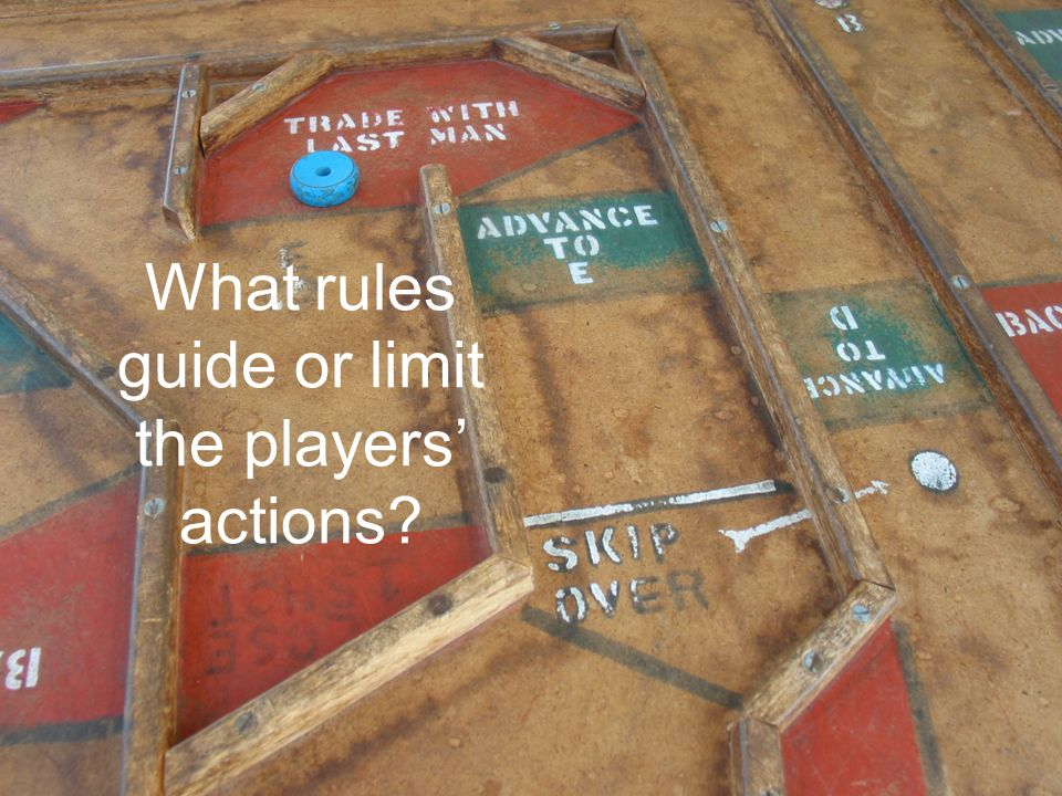 What rules guide or limit the players' actions?