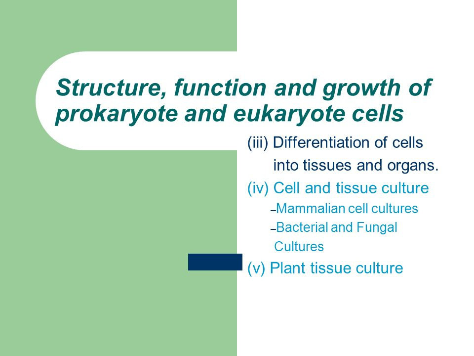 Structure, function and growth of prokaryote and eukaryote cells (iii) Differentiation of cells into tissues and organs.