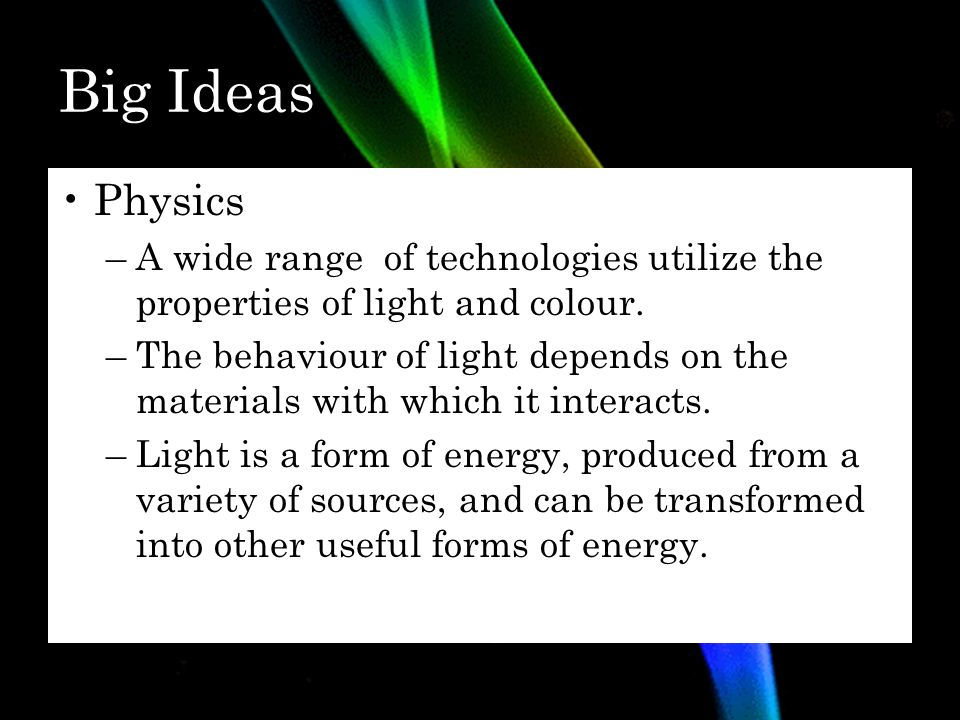 Grade 10 Applied Science SNC2P Physics: Light and Applications of ...