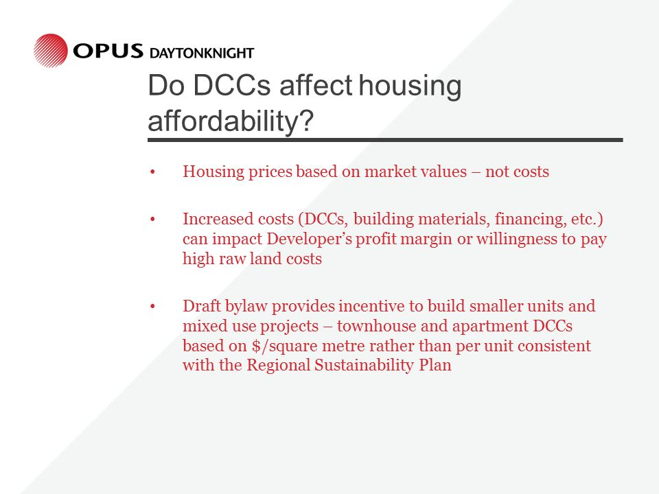 Do DCCs affect housing affordability.