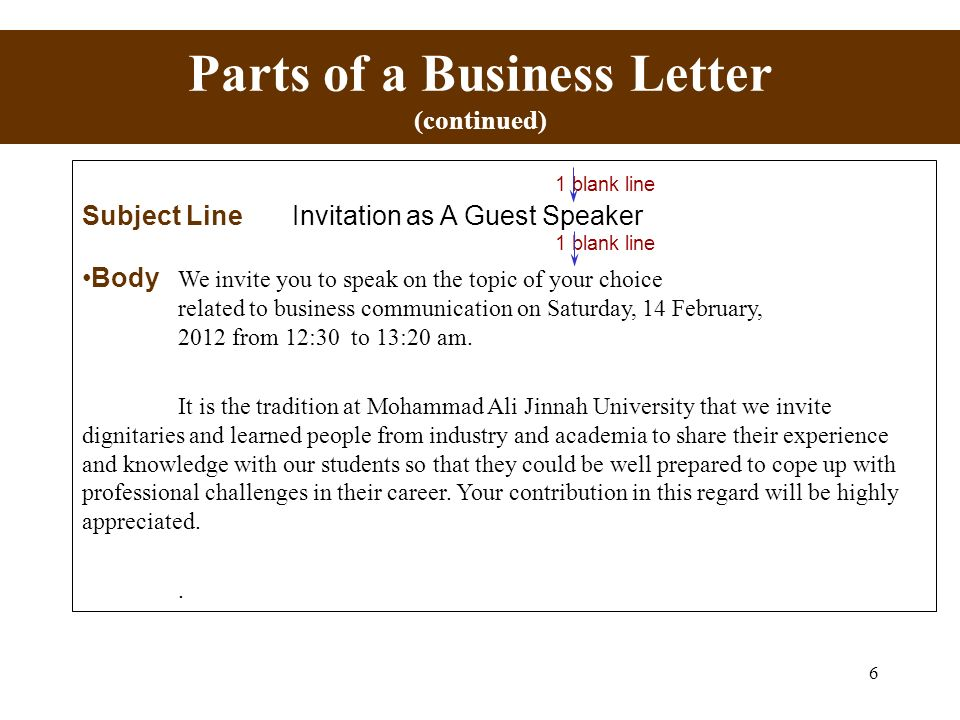 1 the appearance and design of business messages nadeem ahmed ppt 6 parts of a business letter continued 1 blank line subject line invitation as altavistaventures Image collections