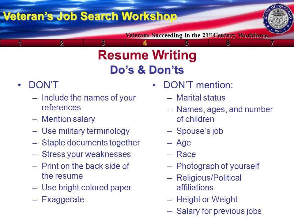 resume writing veteran s job search workshop veterans succeeding