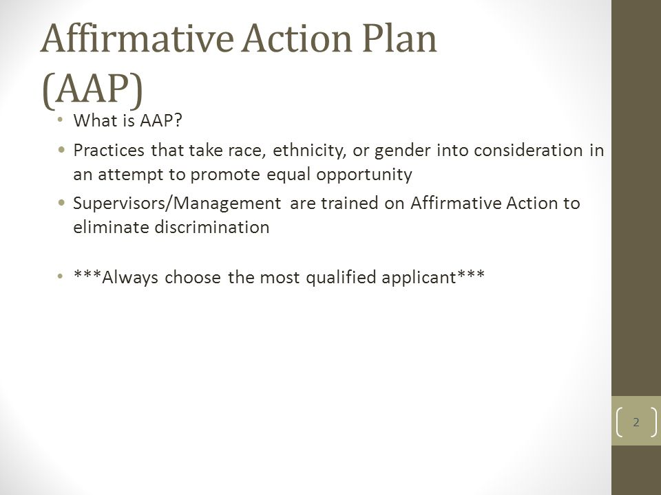Affirmative Action Training For Managers Affirmative Action Plan