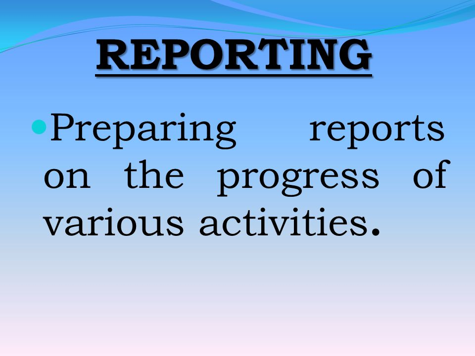 REPORTING Preparing reports on the progress of various activities.