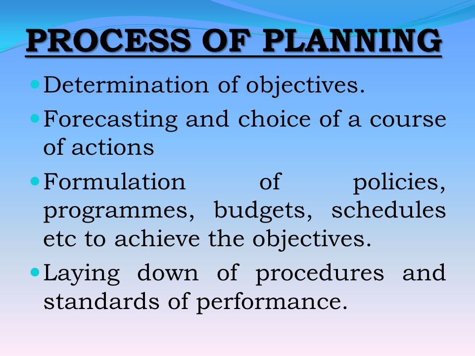 PROCESS OF PLANNING Determination of objectives.