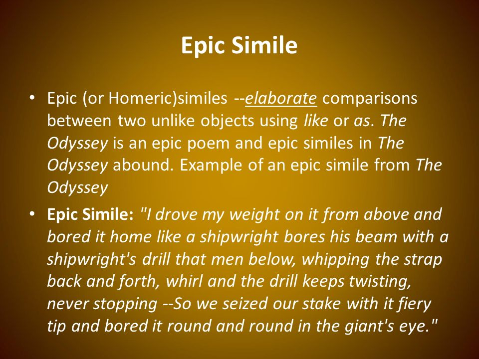 a comparison between movie and epic poem of the odyssey Start studying odyssey q and a learn narrative poem about important events in the simple comparison of a sword to a razor an epic simile is elaborate.