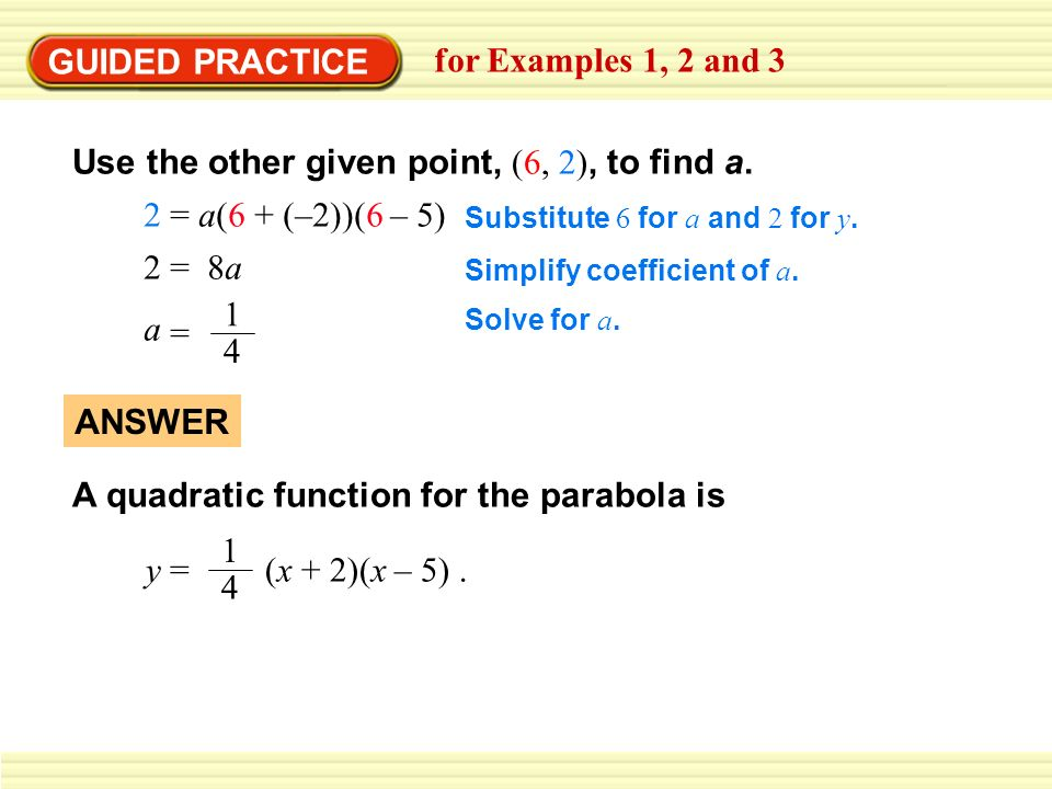 GUIDED PRACTICE for Examples 1, 2 and 3 Use the other given point, (6, 2), to find a.
