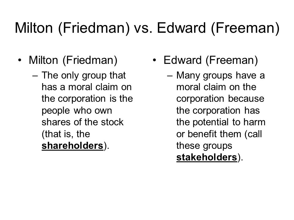 milton friedman and r edward freeman believe that project share is consistent with nyseg s fiduciary