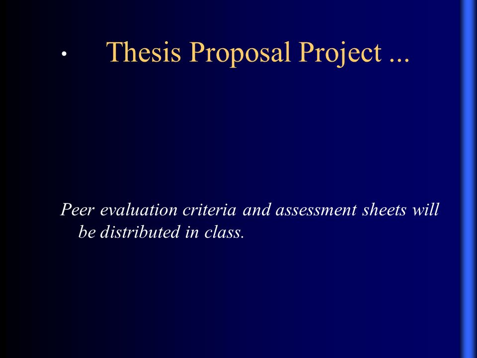 Thesis Proposal Guidelines