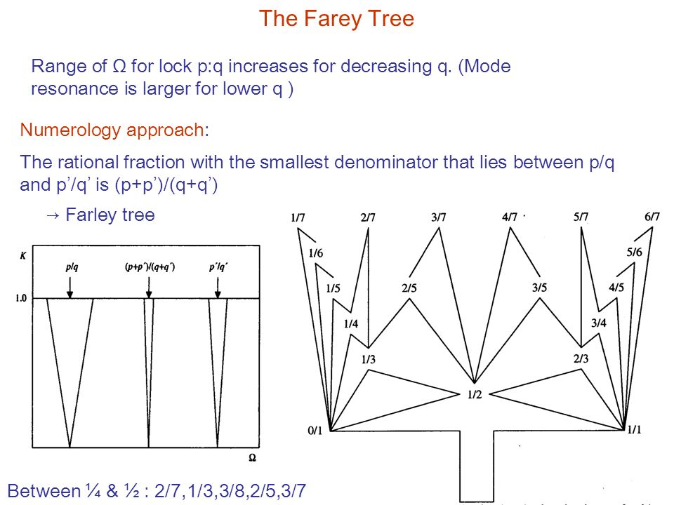 The Farey Tree The rational fraction with the smallest denominator that lies between p/q and p'/q' is (p+p')/(q+q') Range of Ω for lock p:q increases for decreasing q.