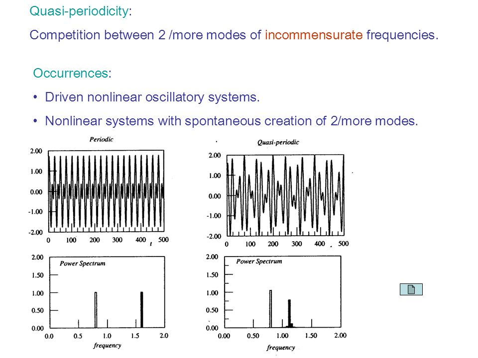 Quasi-periodicity: Competition between 2 /more modes of incommensurate frequencies.