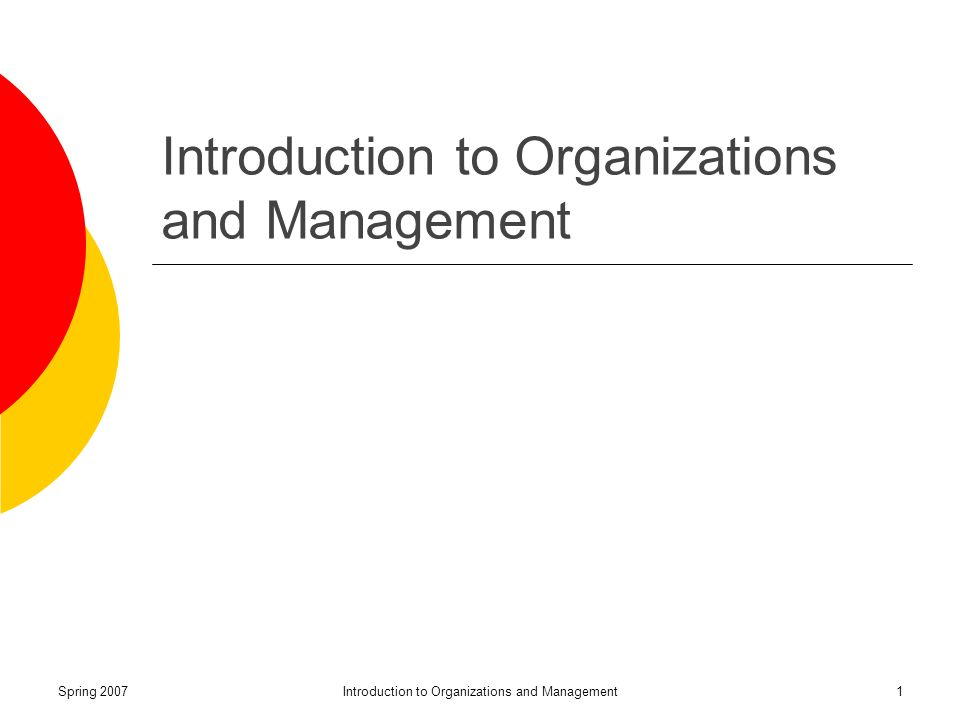 Spring 2007Introduction to Organizations and Management1
