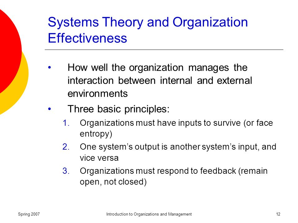 Spring 2007Introduction to Organizations and Management12 Systems Theory and Organization Effectiveness How well the organization manages the interaction between internal and external environments Three basic principles: 1.Organizations must have inputs to survive (or face entropy) 2.One system's output is another system's input, and vice versa 3.Organizations must respond to feedback (remain open, not closed)