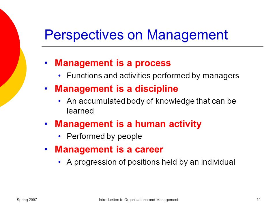 Spring 2007Introduction to Organizations and Management15 Perspectives on Management Management is a process Functions and activities performed by managers Management is a discipline An accumulated body of knowledge that can be learned Management is a human activity Performed by people Management is a career A progression of positions held by an individual