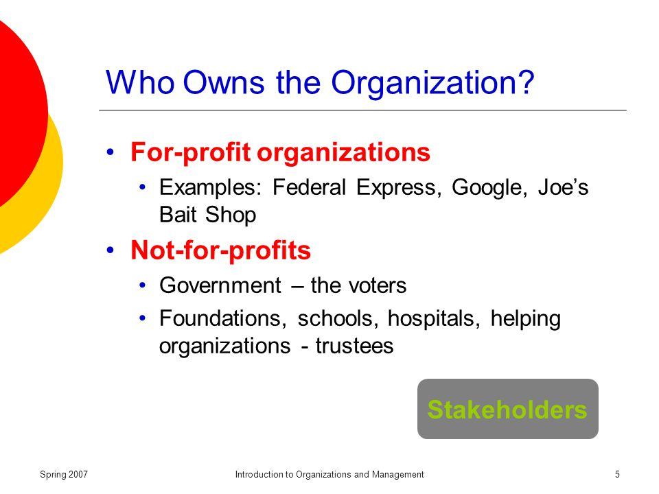 Spring 2007Introduction to Organizations and Management5 Who Owns the Organization.