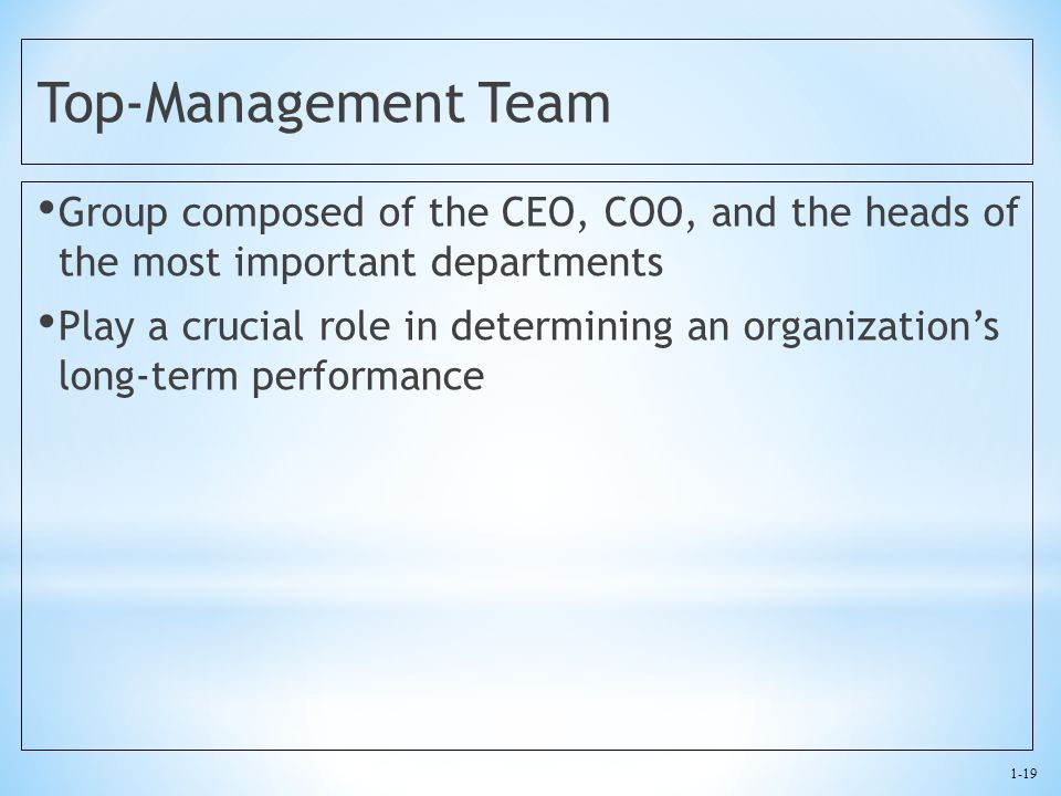 1-19 Top-Management Team Group composed of the CEO, COO, and the heads of the most important departments Play a crucial role in determining an organiz