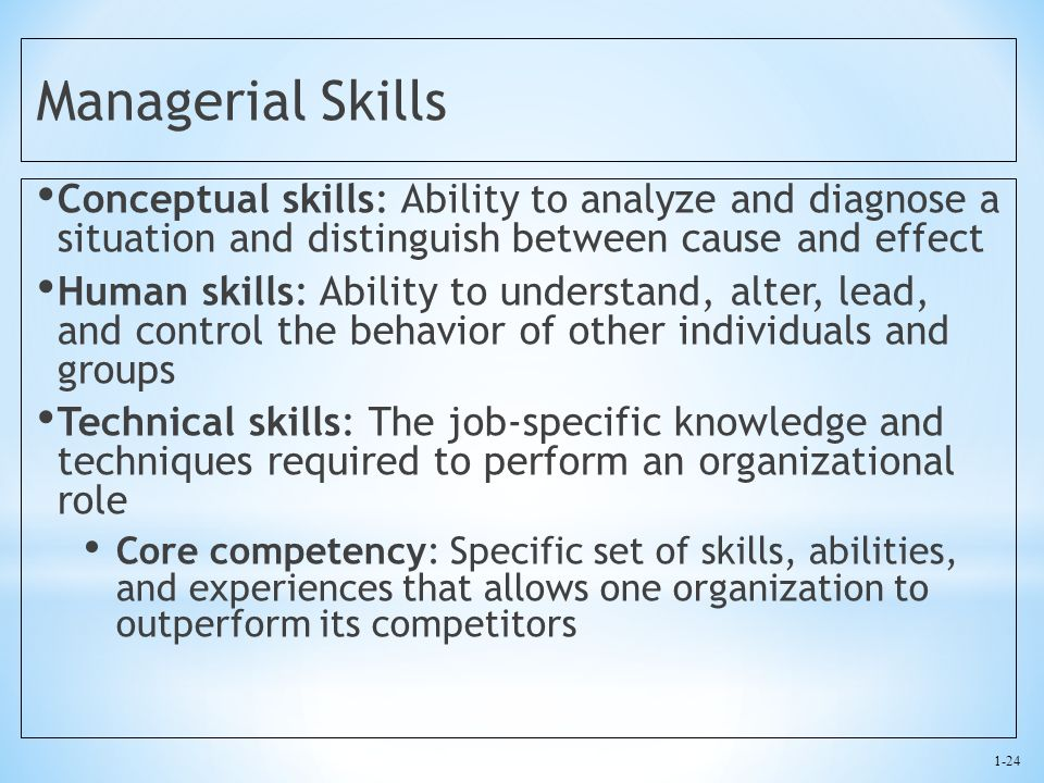 1-24 Managerial Skills Conceptual skills: Ability to analyze and diagnose a situation and distinguish between cause and effect Human skills: Ability t