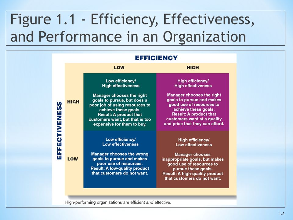 1-8 Figure 1.1 - Efficiency, Effectiveness, and Performance in an Organization