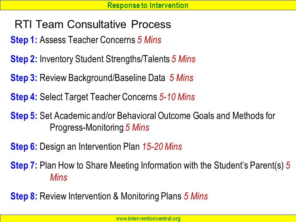 Response to Intervention   Step 1: Assess Teacher Concerns 5 Mins Step 2: Inventory Student Strengths/Talents 5 Mins Step 3: Review Background/Baseline Data 5 Mins Step 4: Select Target Teacher Concerns 5-10 Mins Step 5: Set Academic and/or Behavioral Outcome Goals and Methods for Progress-Monitoring 5 Mins Step 6: Design an Intervention Plan Mins Step 7: Plan How to Share Meeting Information with the Student's Parent(s) 5 Mins Step 8: Review Intervention & Monitoring Plans 5 Mins RTI Team Consultative Process