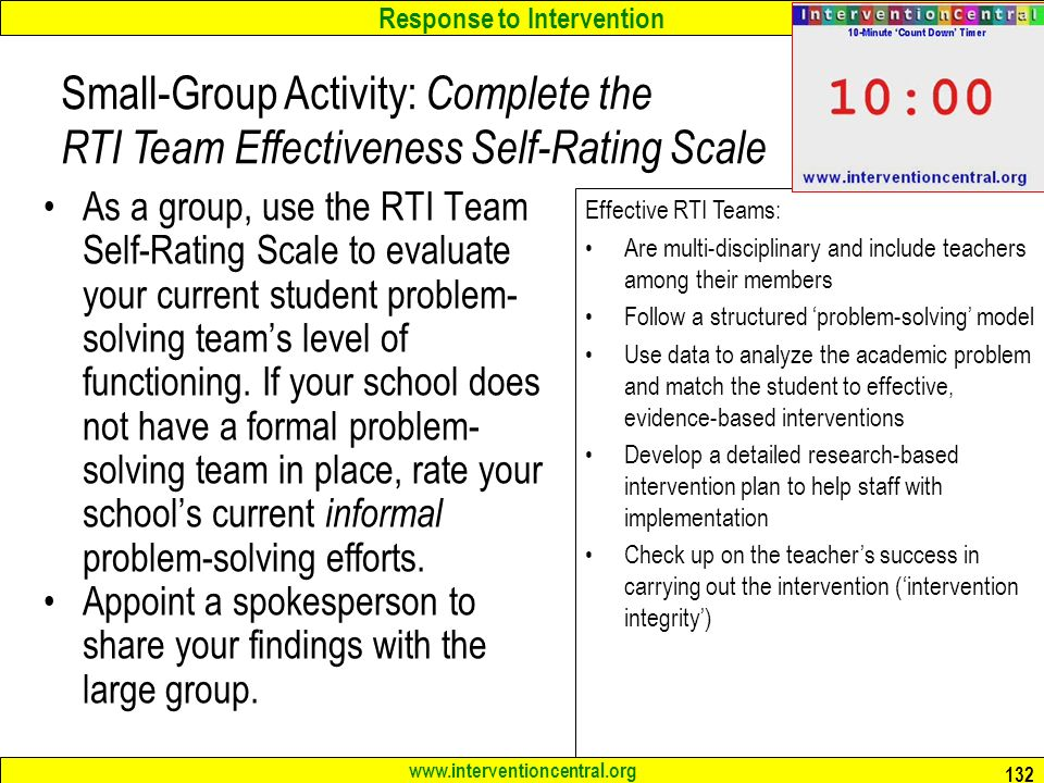 Response to Intervention As a group, use the RTI Team Self-Rating Scale to evaluate your current student problem- solving team's level of functioning.