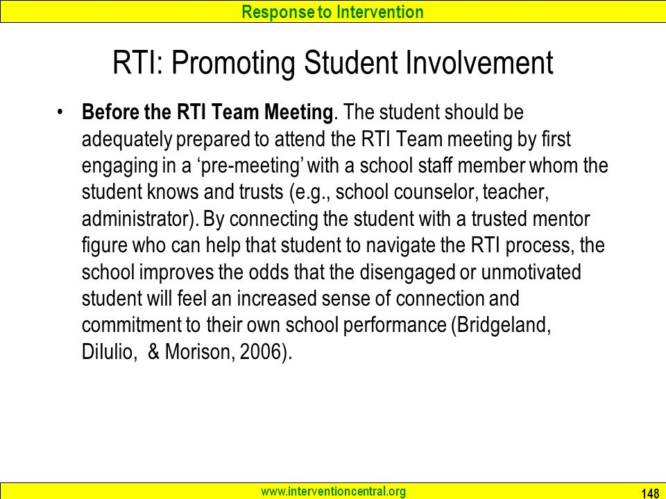 Response to Intervention   RTI: Promoting Student Involvement Before the RTI Team Meeting.
