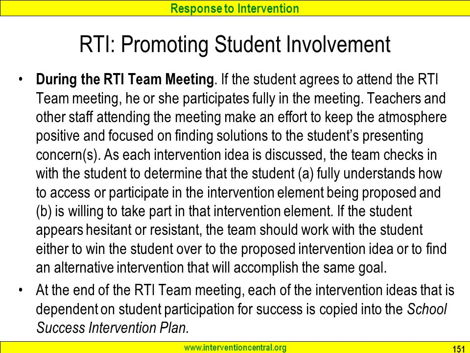 Response to Intervention   RTI: Promoting Student Involvement During the RTI Team Meeting.
