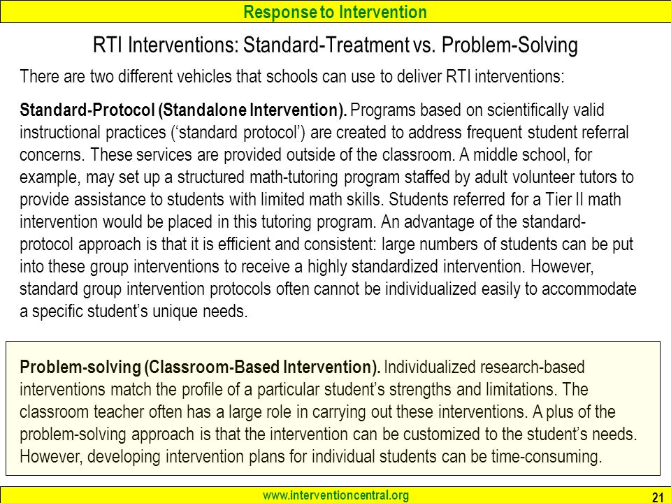 Response to Intervention   21 RTI Interventions: Standard-Treatment vs.