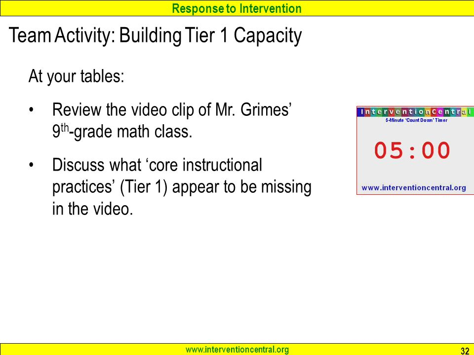 Response to Intervention   32 Team Activity: Building Tier 1 Capacity At your tables: Review the video clip of Mr.